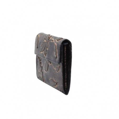 Porte monnaie femme décor feuille cuir aspect vieilli 4976 A DÉCOUVRIR ! - 3