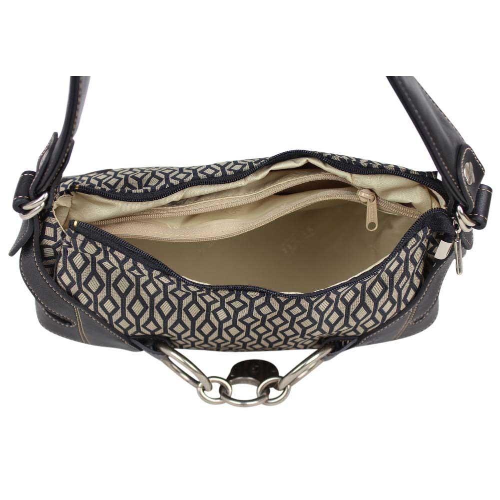 Sac porté épaule Texier imprimé textile et cuir 5531 - Nouvelty.com 3b1a6b84132