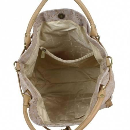 Sac porté épaule shopping marron toile et cuir Lancaster 509-06 LANCASTER - 8