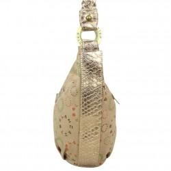 Petit sac porté épaule toile argentée et beige Lancaster 502-13 LANCASTER - 2