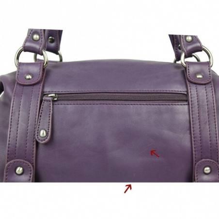 Neuf avec défauts sac bowling Fuchsia cuir lisse F8136-12 FUCHSIA - 4