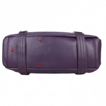 Neuf avec défauts sac bowling Fuchsia cuir lisse F8136-12 FUCHSIA - 6