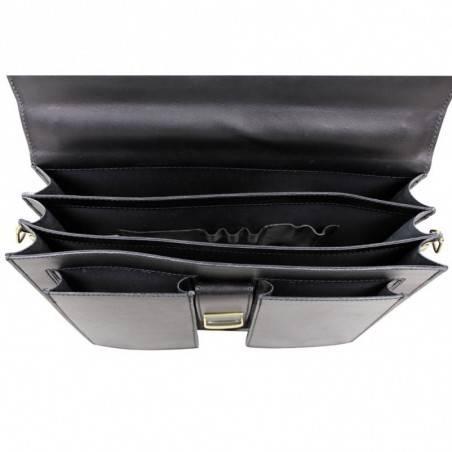 Porte documents en cuir lisse vintage trois compartiments A DÉCOUVRIR ! - 4