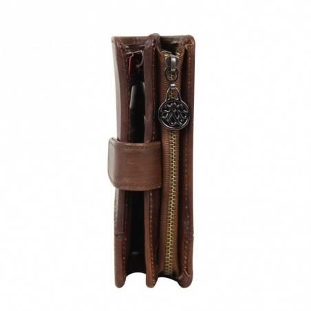 Porte monnaie fermoir femme en cuir et déco rivet Arthur et Aston Melany  ARTHUR & ASTON - 3