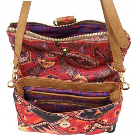 Petit sac bandoulière pochette Desigual toile Atenas Boho