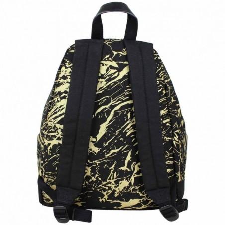 Sac à dos Eastpak motif imprimé EK620 toile et cuir Padded Pak'r 18R Noir marbré doré