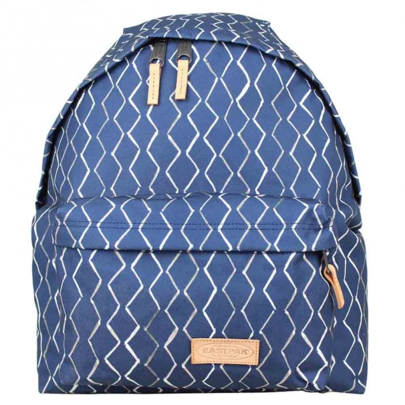 Sac à dos Eastpak motif imprimé bleu EK620 toile et cuir Padded Pak'r 09R Rhombs