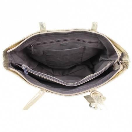 Sac cabas Patrick Blanc cuir metallisee motif imprime ethnique