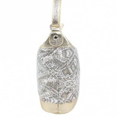Sac Patrick Blanc cuir métallise motif ethnique