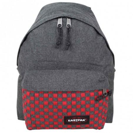 Sac à dos Eastpak motif imprimé gris tressé rouge EK620 Padded Pak'r 24S Red Weave