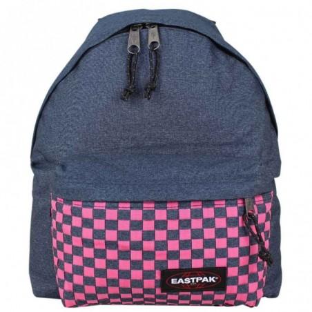Sac à dos Eastpak motif imprimé bleu tressé rose EK620 Padded Pak'r 26S Pink Weave
