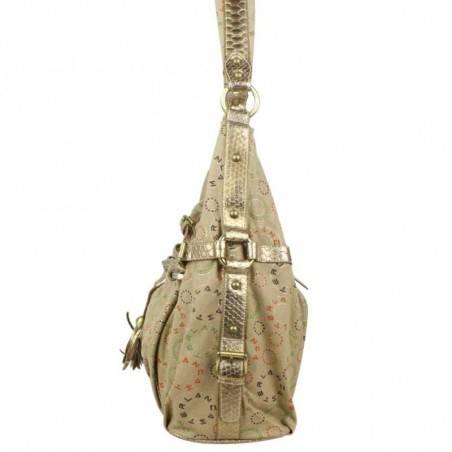 Moyen sac porté épaule toile doré et beige Lancaster 502-03 LANCASTER - 2