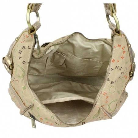 Moyen sac porté épaule toile doré et beige Lancaster 502-03 LANCASTER - 4