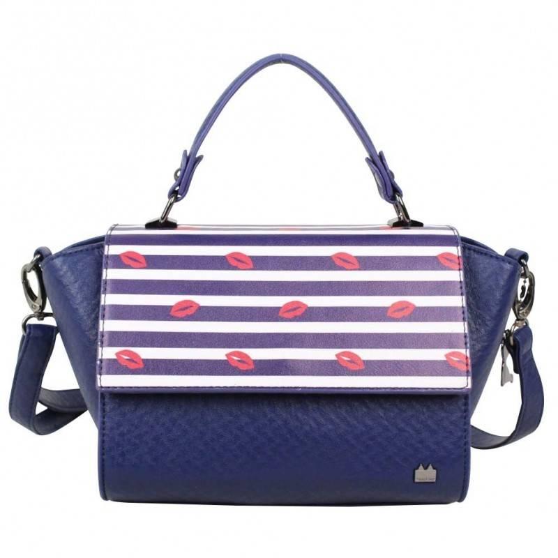 Petit sac à main trapèze Lollipops Bisous bleu et blanc LOLLIPOPS - 1