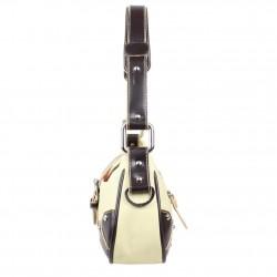 Sac bandoulière à rabat toile couture sellier Fuchsia F9674-1 Agathe FUCHSIA - 3