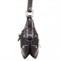 Sac bandoulière à rabat toile couture sellier Fuchsia F9674-1 Agathe FUCHSIA - 2