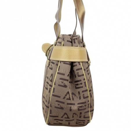 Sac à main Lancaster déco ceinture toile et cuir motif marron LANCASTER - 2