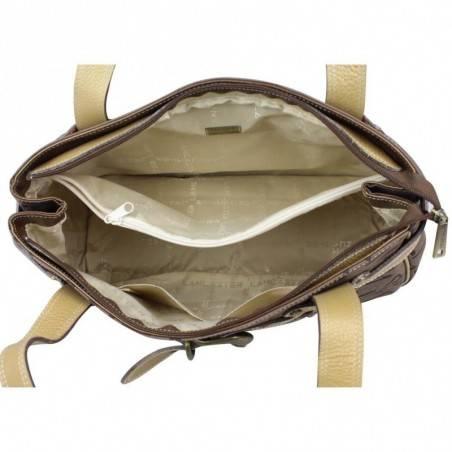 Sac à main Lancaster déco ceinture toile et cuir motif marron LANCASTER - 3