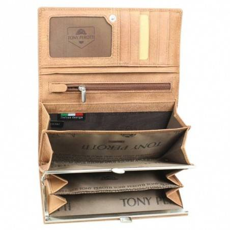 Porte monnaie billet femme cuir végétal fermoir vintage Tony Perotti Tony PEROTTI - 9