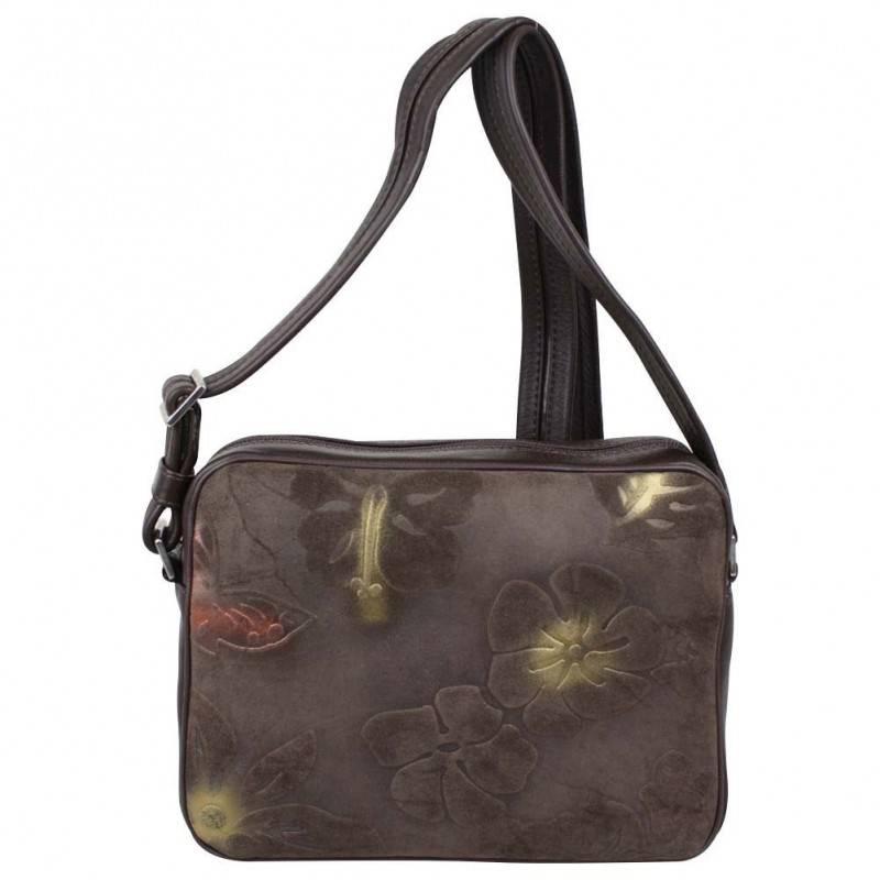 Sac bandoulière cuir motif imprimé fleurs et papillons BAMBOO