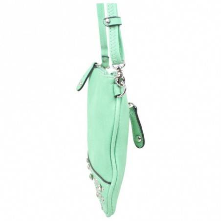 Mini sac pochette extra plat Fuchsia déco strass FUCHSIA - 2