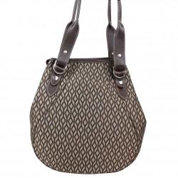 Sac épaule Texier forme ronde motif textile et cuir TEXIER - 4