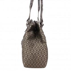 Sac épaule Texier forme ronde motif textile et cuir TEXIER - 2