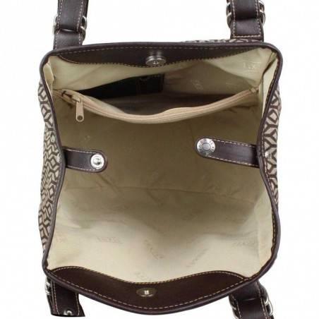 Sac épaule Texier forme ronde motif textile et cuir TEXIER - 3