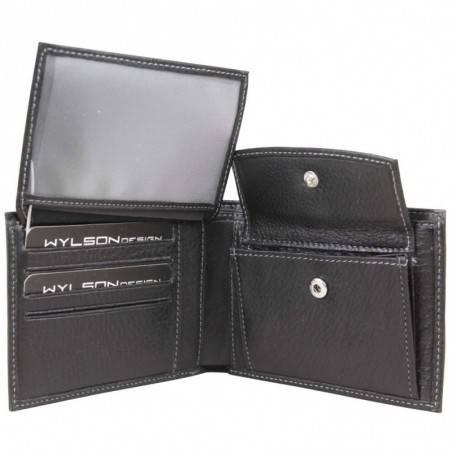 Petit portefeuille Duolynx Européen pas cher cuir noir WYLSON - 2