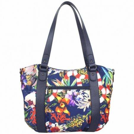 Sac cabas + bandoulière Hexagona toile motif imprimé fleurs HEXAGONA - 4
