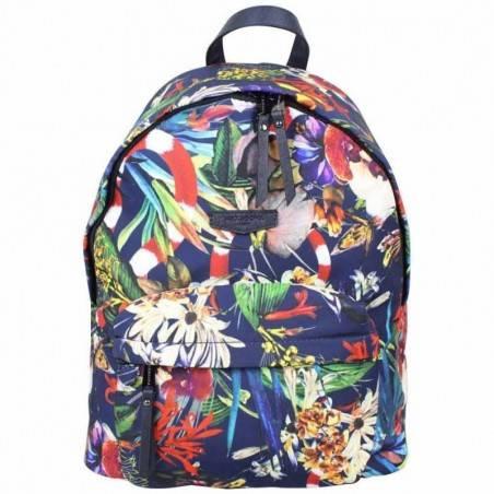 Sac à dos à zip Hexagona toile motif imprimé fleurs HEXAGONA - 1