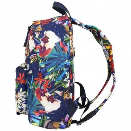 Sac à dos à zip Hexagona toile motif imprimé fleurs HEXAGONA - 3