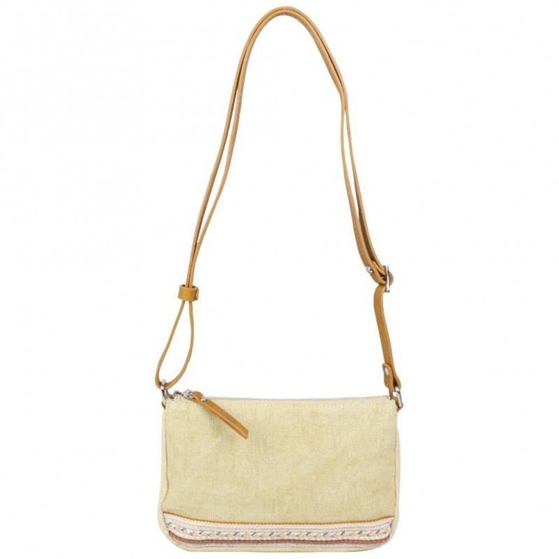 Petit sac bandoulière bande déco toile délavée FUCHSIA Milli beige FUCHSIA - 1