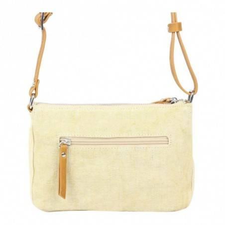 Petit sac bandoulière bande déco toile délavée FUCHSIA Milli beige FUCHSIA - 2