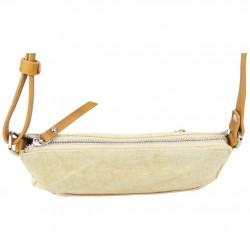 Petit sac bandoulière bande déco toile délavée FUCHSIA Milli beige FUCHSIA - 3