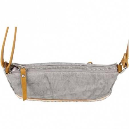 Petit sac bandoulière bande toile délavée FUCHSIA Milli gris FUCHSIA - 2