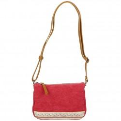 Petit sac bandoulière bande déco toile délavée FUCHSIA Milli rouge FUCHSIA - 1