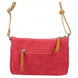 Petit sac bandoulière bande déco toile délavée FUCHSIA Milli rouge FUCHSIA - 2