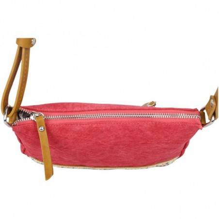 Petit sac bandoulière bande déco toile délavée FUCHSIA Milli rouge FUCHSIA - 3