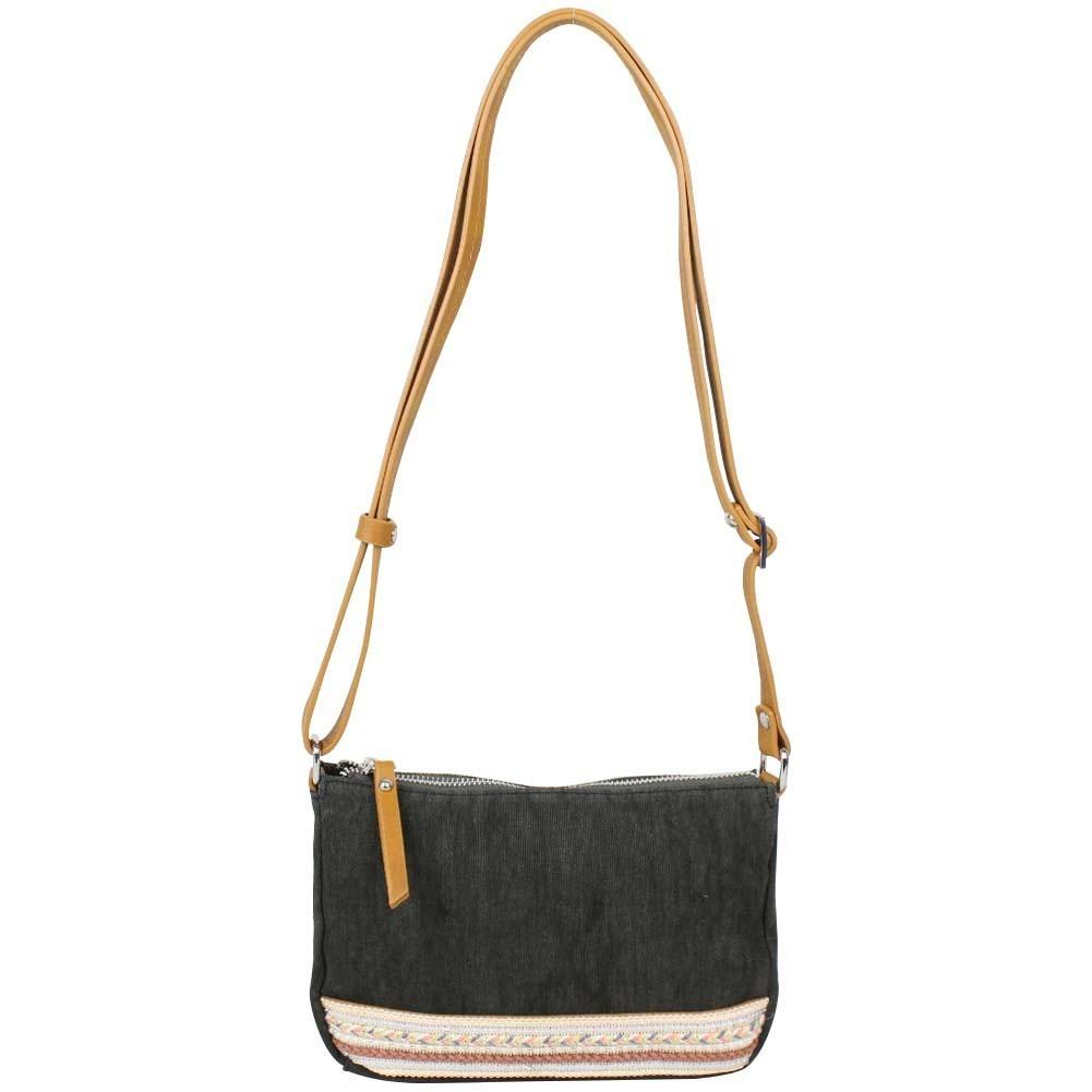 Petit sac bandoulière bande déco toile délavée FUCHSIA Milli noir FUCHSIA - 1