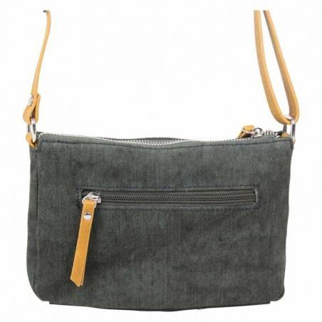 Petit sac bandoulière bande déco toile délavée FUCHSIA Milli noir FUCHSIA - 2