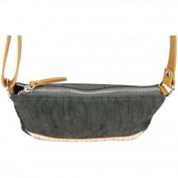 Petit sac bandoulière bande déco toile délavée FUCHSIA Milli noir FUCHSIA - 3