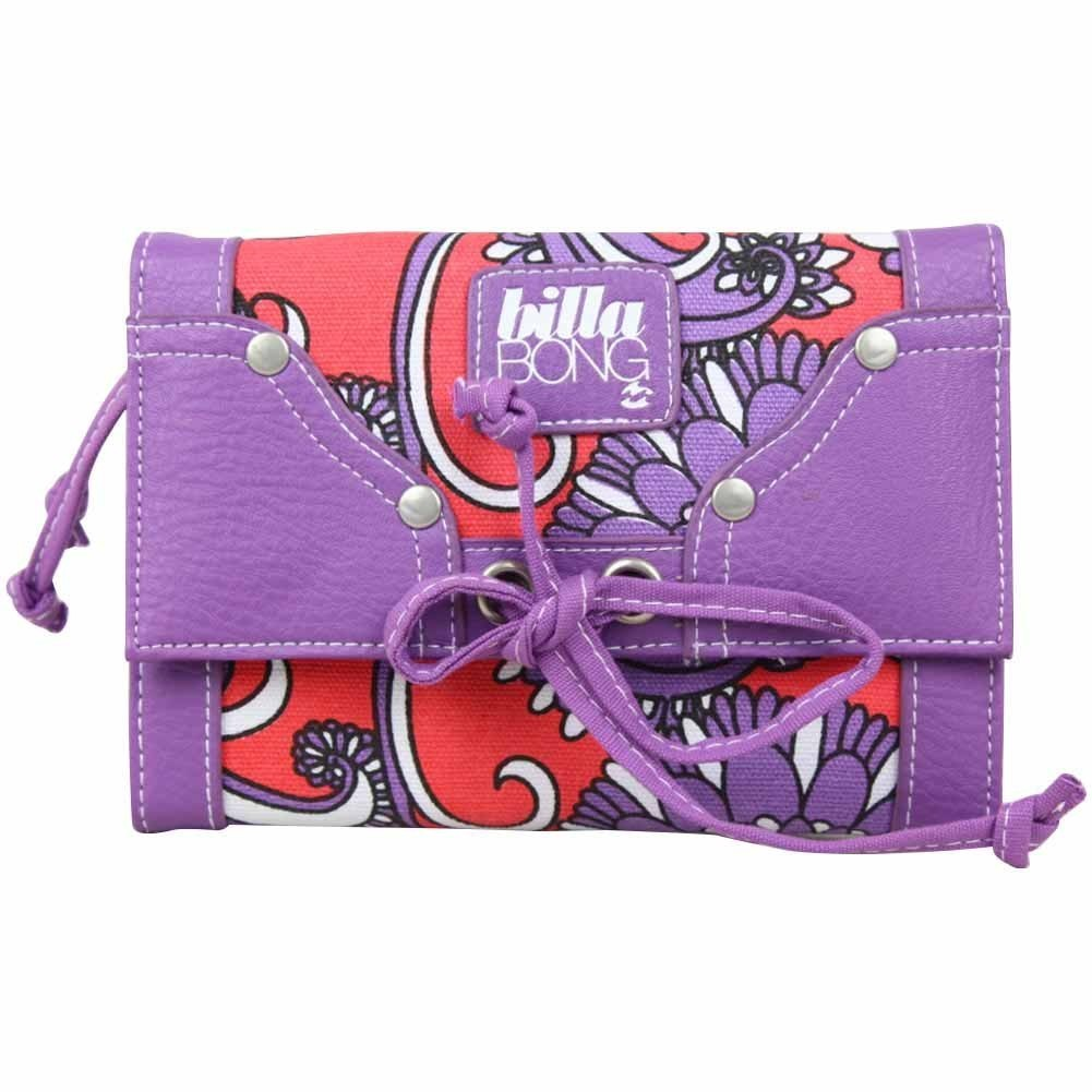 Grand porte monnaie et cartes toile violet motif rouge BILLABONG - 1