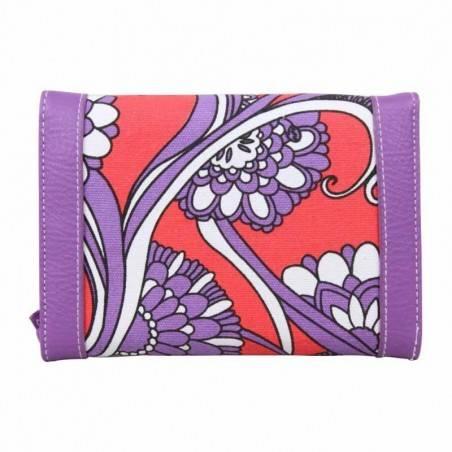 Grand porte monnaie et cartes toile violet motif rouge BILLABONG - 3