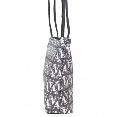 Petit sac épaule noir imprimé design d'écriture graphologique argentée