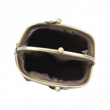 Porte monnaie fermoir Fuchsia effet croco violet et noir FUCHSIA - 3