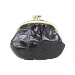 Porte monnaie fermoir Fuchsia effet croco gris et noir FUCHSIA - 2