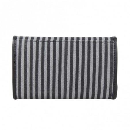 Porte monnaie et cartes DDP toile rayé noir et gris