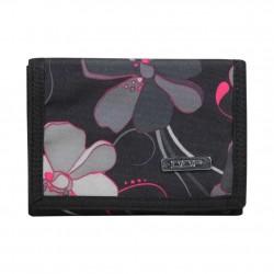 Portefeuille ultra plat toile motif fleurs noir et gris DDP DDP - 1