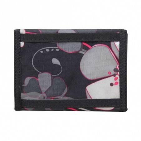 Portefeuille ultra plat toile motif fleurs noir et gris DDP DDP - 3